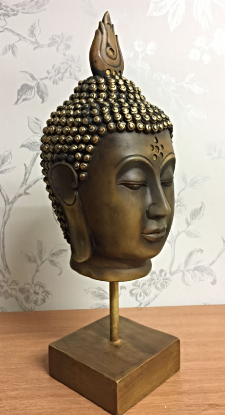 Large Thai Goddess Wood Effect Buddha Head On Plinth Ornament